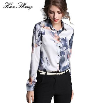 Women Tops And Blouses 2016 New Fashion Women Long Sleeve Floral Print Work Wear Office Shirts Plus Size Women Chiffon Blouse
