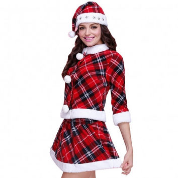 Red Plaid Girl Fashion Design Santa Costume Two Piece Skirt Suit