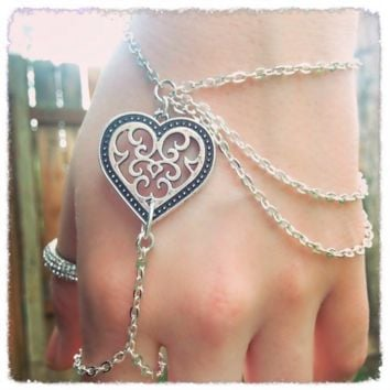 Handmade Antique Heart Ring Bracelet