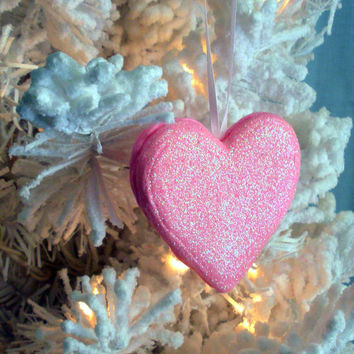 Fairy Sparkles Ornament Heart, Disney Cinderella Inspired Decor, Fantasy Fairy Tale Wedding - Cake Topper - Decoration, Pink Diamond Dust
