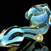Color Changing Glass Sherlock Smoking Pipe with Kickstand Marbles and Black Latti Inside Silver Fumed Borosilicate