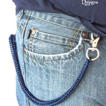 Blue Wallet Chain - Chainmaille Wallet Chain - Mens Gifts - Trucker Wallet Chain - Gifts for Bikers - Biker Chain Wallet - Handmade Chain