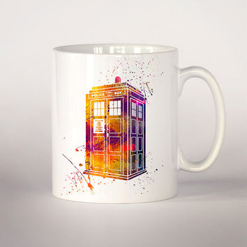 Tardis Doctor Who coffee cup, watercolor Tea Cup, coffee mug 11 oz. Mug art, Ceramic Mug, Tardis Doctor Who watercolor art print, movie art
