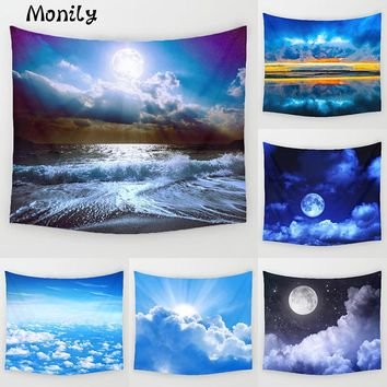 Monily Natural Scenic Polyester Sunset Sunrise Cloud Printed Hanging Wall Tapestry Home Decor Yoga Mat Living Room Decoration