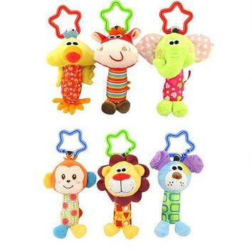VONC1Y Happy Monkey Newborn Infant Baby Soft Toys Baby Rattle Tinkle Hand Bell For Tots Plush Mobiles In Baby Bed/Crib Stroller KF032
