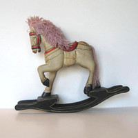 Vintage Wooden Rocking Horse with Pink Mane, Primitive Folk Art, Toy, Home and Living, Country home decor, Kids