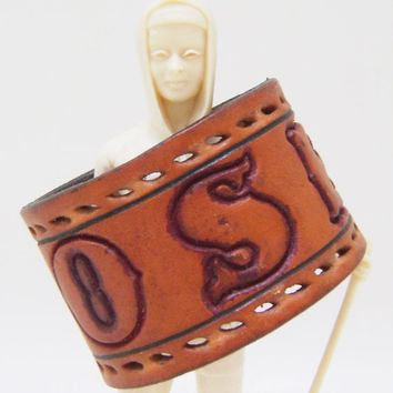 Rose Cuff Bracelet - Tooled Leather Cuff Name Belt - Size Small