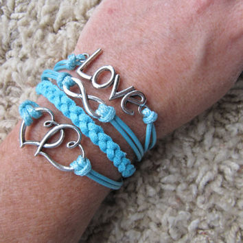 Made in the USA - Metallic Turquoise and Teal Double Heart Love Infinity Friendship Charm Bracelet