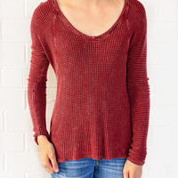 Into The Woods Waffle Tunic-Burgundy Small