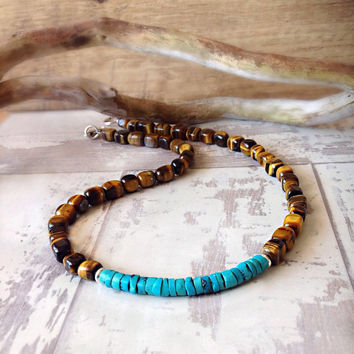 Mens beaded necklace, tigers eye turquoise necklace, mens jewelry, mens choker necklace, gift for him, surfer necklace