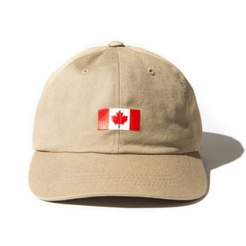 Canada Flag Maple Seal Embroidered Soft Unstructured Hat Baseball Cap