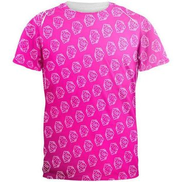 PEAPGQ9 D20 Gamer Critical Hit and Fumble Pink Pattern All Over Mens T Shirt