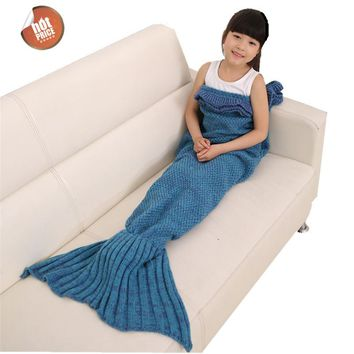70cmx140cm Mermaid Tail Blanket Handmade Wool Knit Blanket Fish Tail Sleeping Blanket Travel Blanket For Children sleeping bag