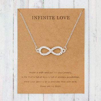 Infinity Love Rhinestone Necklace For Women Chain Necklace Friendship Gifts With Card