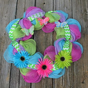 Spring wreath, summer wreath, colorful wreath, flower wreath, butterfly wreath, whimsical wreath, daisy wreath,year round wreath,door wreath
