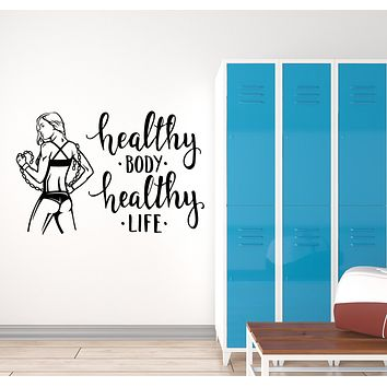 Vinyl Wall Decal Fitness Girl Quote Motivation Words Health Home Gym Interior Stickers Mural (ig5962)