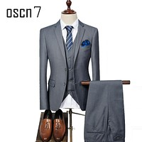 OSCN7 3 Pcs Solid Suit Men Slim Fit Plus Size Leisure Wedding Suits for Men 2017 Fashion Costume Homme Business Formal Mens Suit