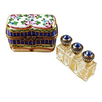 BLUE AND FLORAL CHEST WITH THREE BOTTLES LIMOGES BOXES