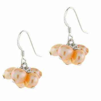 Sterling Silver Peach Freshwater Cultured Biwa Pearl Cluster Earrings