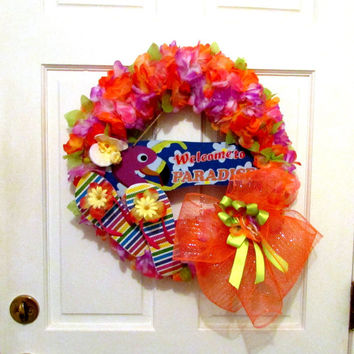 Sale!- Summer wreath for door, flip flop wreath, beach wreath, door hanger, nautical decor, wreath, tropical decor,flip flops