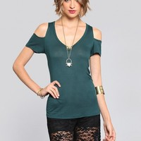 Ria Cold Shoulder Tee - Forest