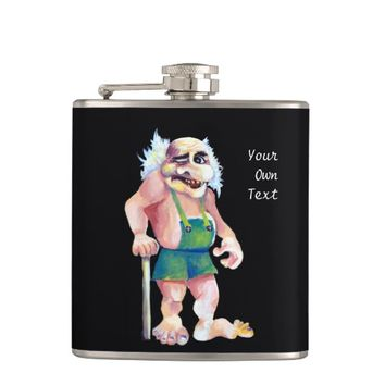 Scandinavian Funny Looking Ogre Troll Hip Flask
