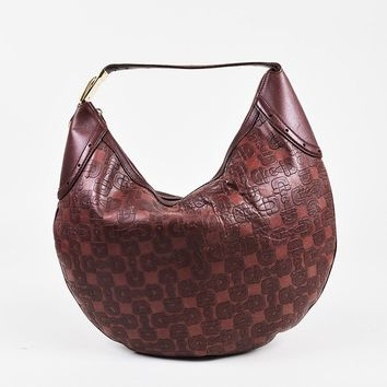 "Gucci Red Leather Horsebit Embossed ""Glam"" Hobo Bag"