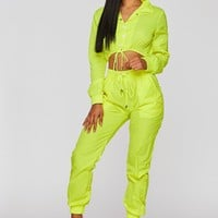 She's a Baddie Windbreaker Two Piece Set Neon Yellow