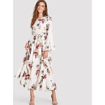 Multicolor Round Neck Ruffle Floral Print Dress