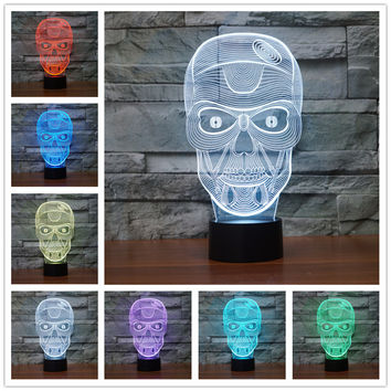 Skull 3D LED Art Sculpture 7 Color Modes