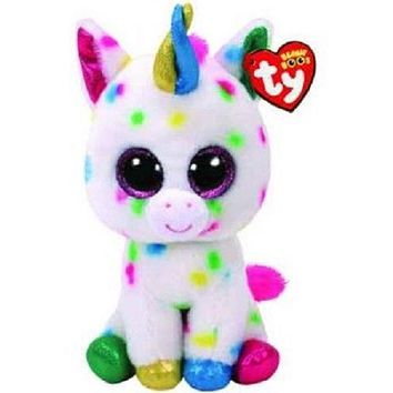 "Pyoopeo Ty Beanie Boos 6"" 15cm Harmonie the Unicorn Plush Regular Stuffed Animal Collectible Soft Big Eyes Doll Toy"