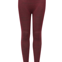 Just One Ribbed Marled Seamless Girls Leggings Burgundy One Size For Women 26367632001