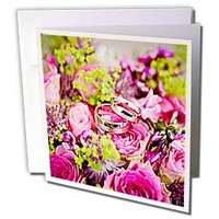 Flowers of Pink, Purple and Yellow and Wedding Bands Greeting Card Sandy Mertens Celebrations