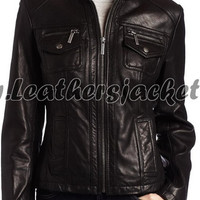 handmade women black Leather Jacket with tab collar and front six pockets, women Black Leather Jacket, leather jacket women