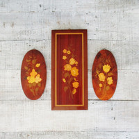 Notturno Intarsio Inlaid Wood Wall Hangings Set of 3 Mid Century Wooden Wall Plaques Inlaid Wood Pictures Floral Design Italian Wall Art