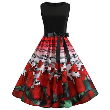 Women Midi Dresses Summer Vintage Red Plus Size 2XL Elegant Pleated Zipper Floral Solid belt bow tie Female Fashion Dress