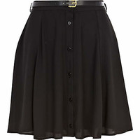 Black button down belted skater skirt - skater skirts - skirts - women