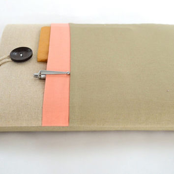 "Laptop Case 11"", 13"", 15"" Laptop Sleeve Case Padded with Pocket - Linen and Peach"