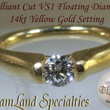 Exquisite 14kt Gold Floating Diamond Ring Size 6 1/2 PV