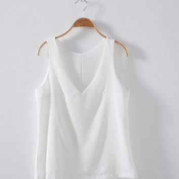 Womens Simple Chiffon Tank Top Summer Vest
