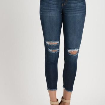 Ankle Frayed Denim Jeans