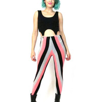 Vintage 80s Vertical Striped High Waist Leggings Workout Gym Beetlejuice Black Pink Candy Striped Bodycon Stretchy Spandex Pants (XS/S)