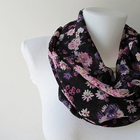 Floral Infinity Scarf, Black Circle Scarf, Chiffon Infinity Scarf, Women Scarf, Loop Scarf, Fall Winter Spring Summer Fashion, For Her