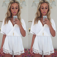 Women Lady Short Sleeve V Neck Casual High Waist Chiffon Cross Lace White Short Jumpsuit Playsuit Rompers