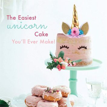 Reusable Handmade Unicorn Birthday Cake Toppers Set Unicorn Horn Ears Flowers Set Party Decoration for Wedding Birthday Party
