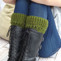 Green Boot Cuffs - Olive Green Boot Socks - Boot Toppers - Winter Accessory - Boot Warmers - Green Fashion Accessory - Jeans Accessory