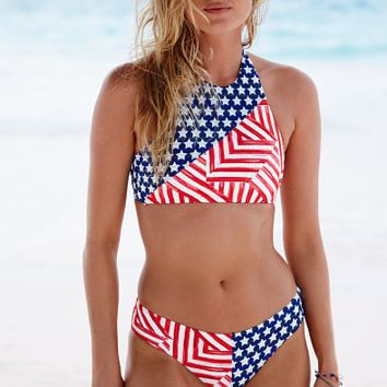HOT FLAG HIGH NECK TWO PIECE BLUE PINK TWO PIECE BIKINIS
