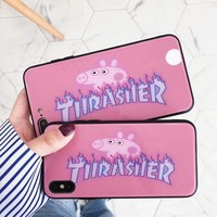"""Thrasher"" Fashion Women Men Cute Peppa Pig Letter Pattern Glass iPhone Phone Case 6/7/8Plus iPhone X Lovers Phone Shell Pink"