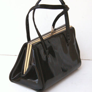 Black Patent Leather Purse - Vintage - Brass Tone Frame Handbag - Retro Gift