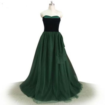 Lang Strapless Long Elegant Prom Dresses Black and Dark Green Formal Gowns Special Occasion Dresses